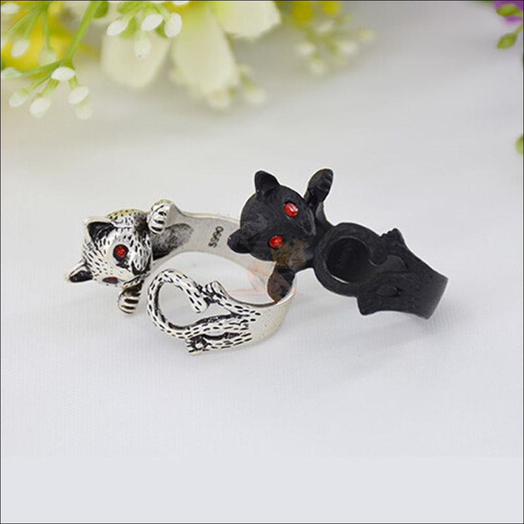 Cute Silver Cat Rings For Women Design by Blissfactory Pet Supplies