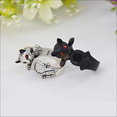 Image of Cute Silver Cat Rings For Women Design by Blissfactory Pet Supplies