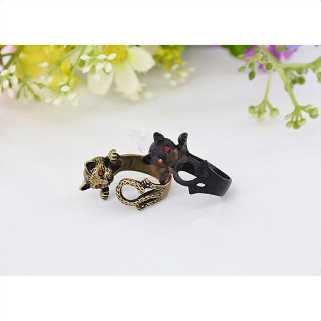 Cute Silver Cat Rings For Women Antique Gold plated by Blissfactory Pet Supplies