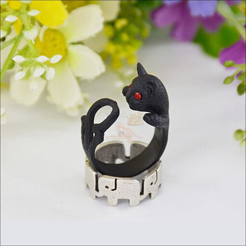 Cute Slinky Cat Ring (Free Shipping) Resizable / Antique Black Gun Plated