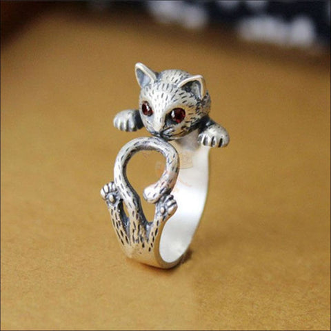 Cute Silver Cat Rings For Women Antique silver plated by Blissfactory Pet Supplies