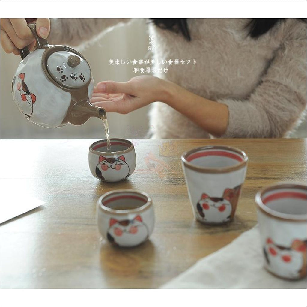 Divine Japanese Hand-Painted Kitty Coffee/tea Pot & Cups Sets And