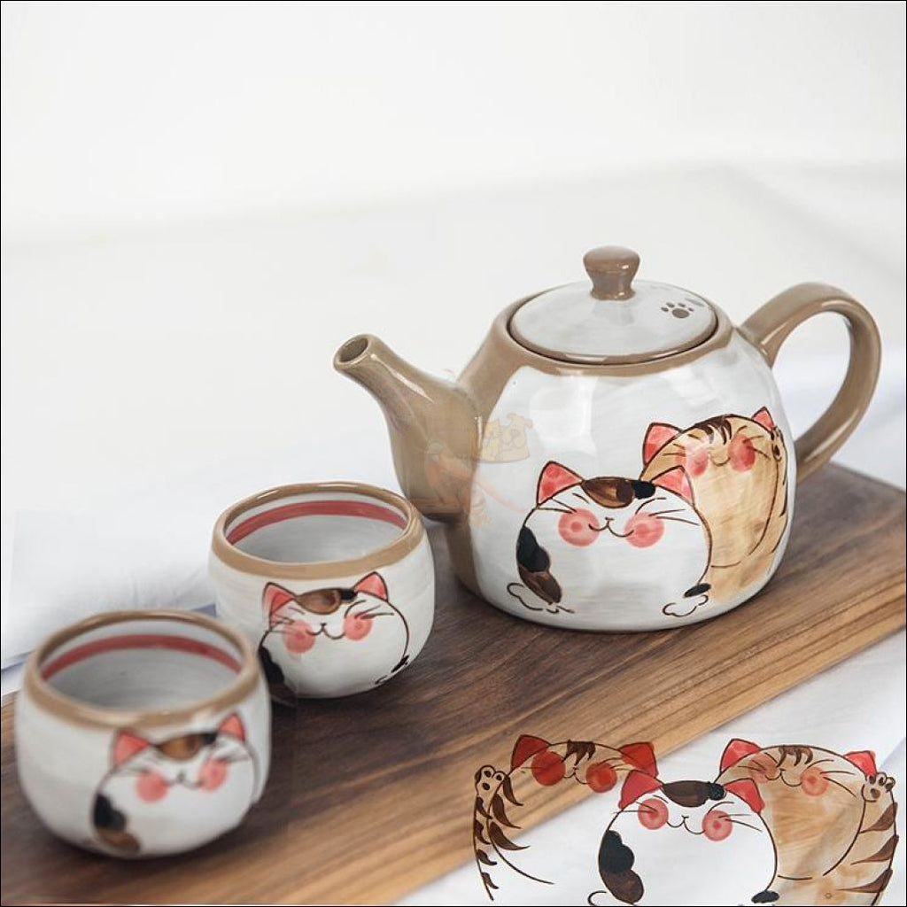 Divine Japanese Hand-Painted Kitty Coffee/tea Pot & Cups Sets Set 1 And