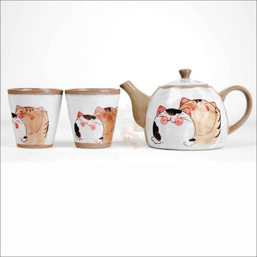 Divine Japanese Hand-Painted Kitty Coffee/tea Pot & Cups Sets Set 2 And