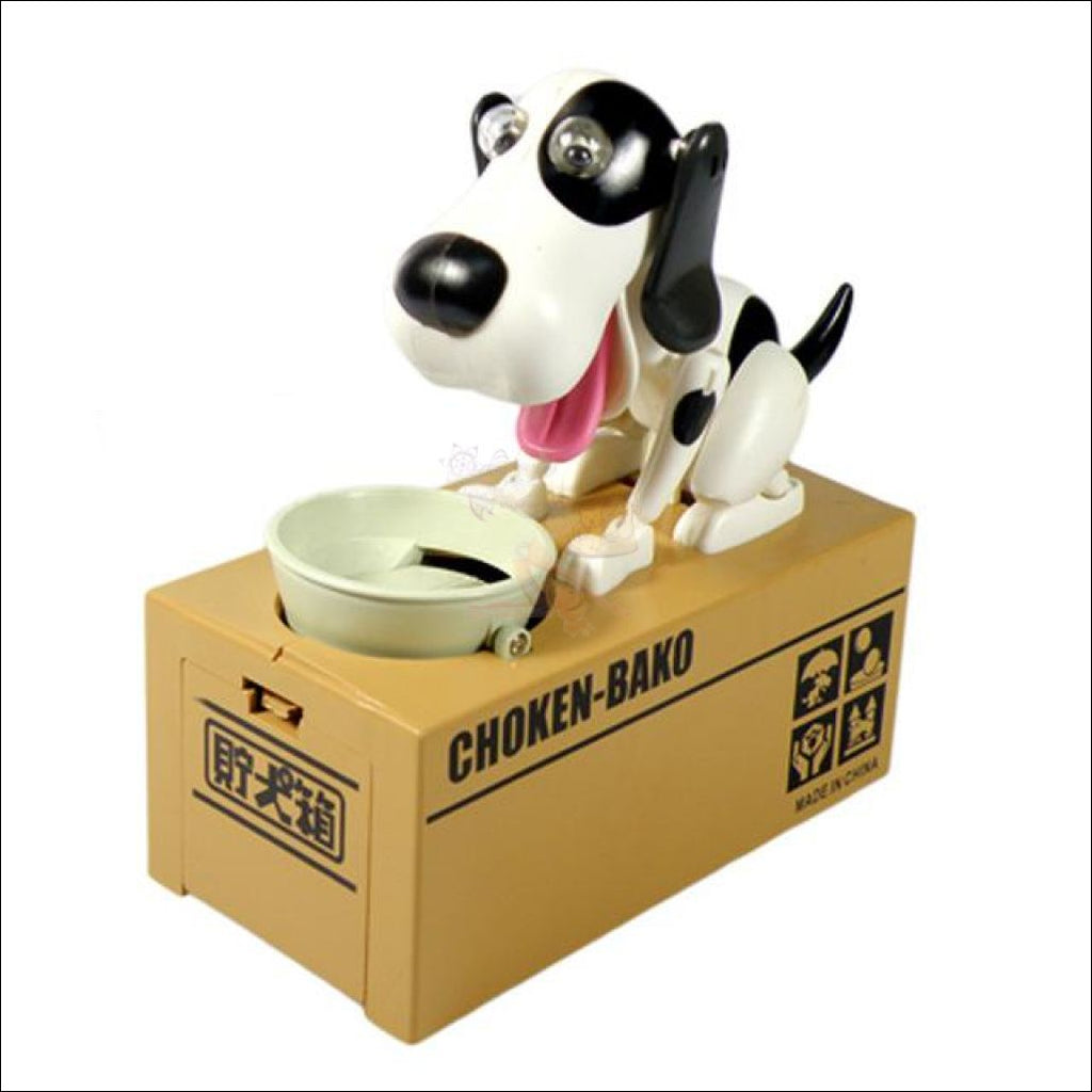 Doggy Coin Bank - Save More Money For Treats! Black And White Dog Box