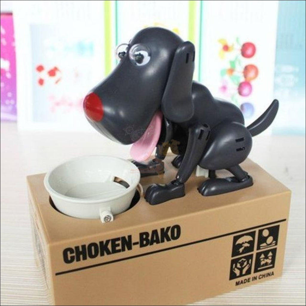 Doggy Coin Bank - Save More Money For Treats! Black Dog Box