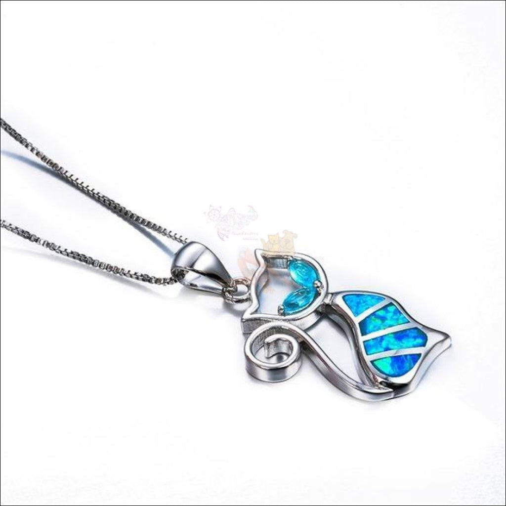 Elegant Aristocat Necklace (High Quality 925 Sterling Silver Filled Blue Fire Opal) Necklaces