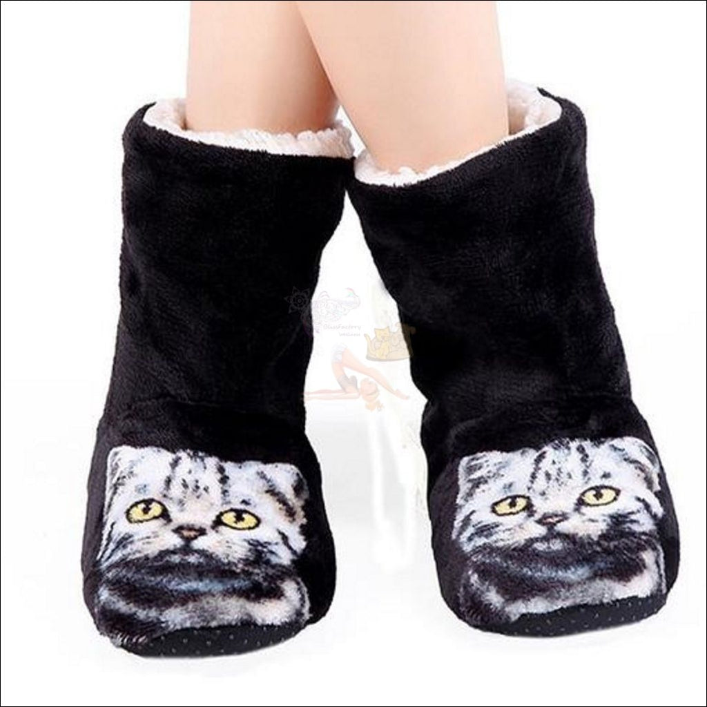 Fluffy Cat womens boots - Best Winter Boots black by Blissfactory Pet Supplies