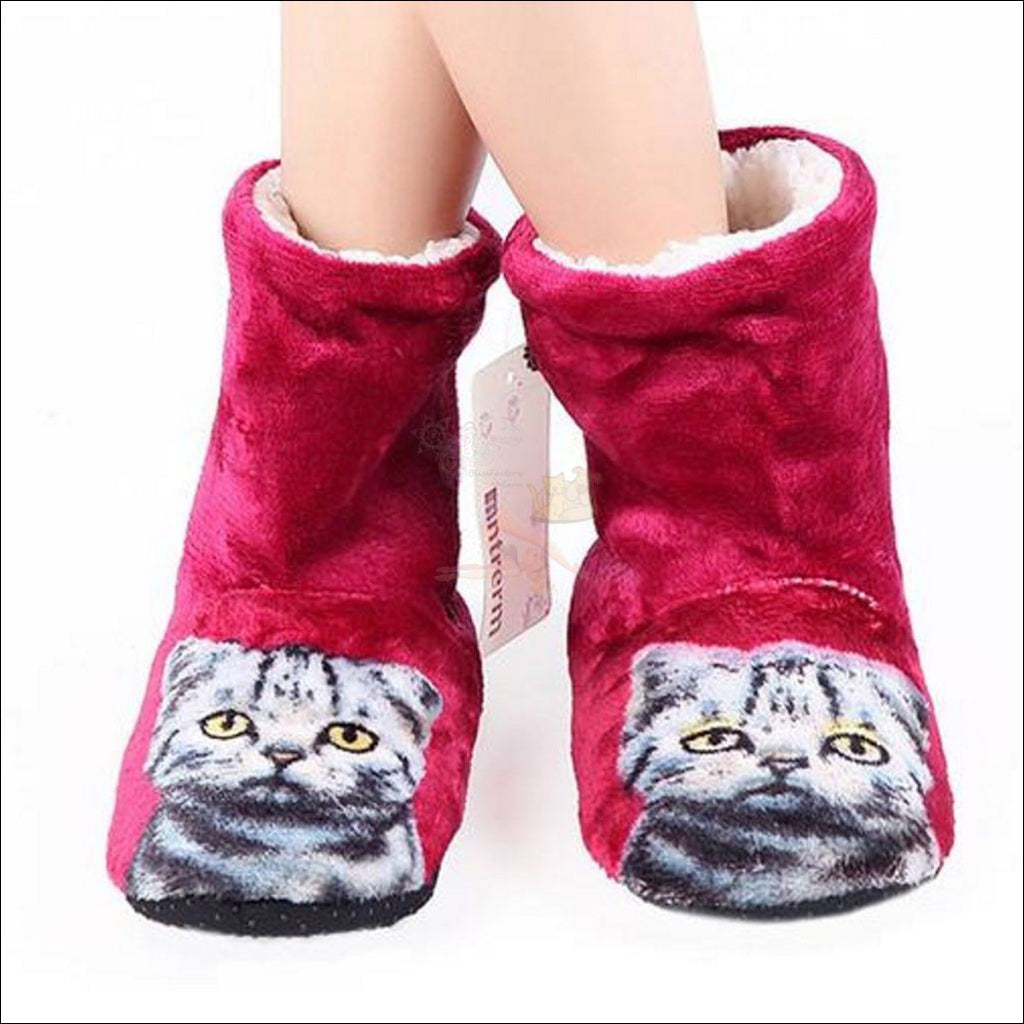 Fluffy Cat womens boots - Best Winter Boots red by Blissfactory Pet Supplies