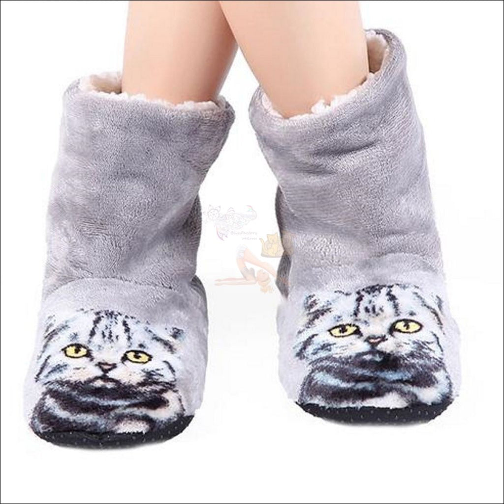 Fluffy Kitty Paw Slippers For Women (Free Shipping) Silver / 7 Cat Slipper