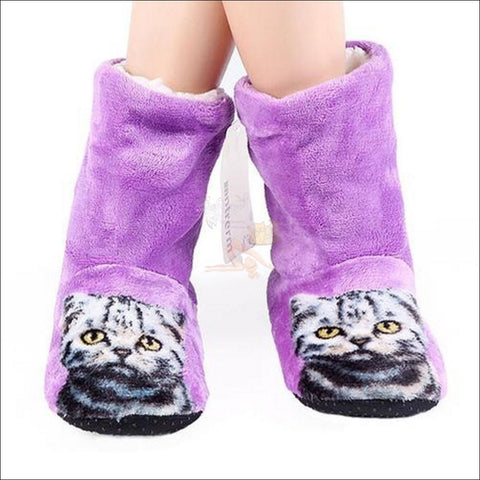 Fluffy Cat womens boots - Best Winter Boots purple  by Blissfactory Pet Supplies