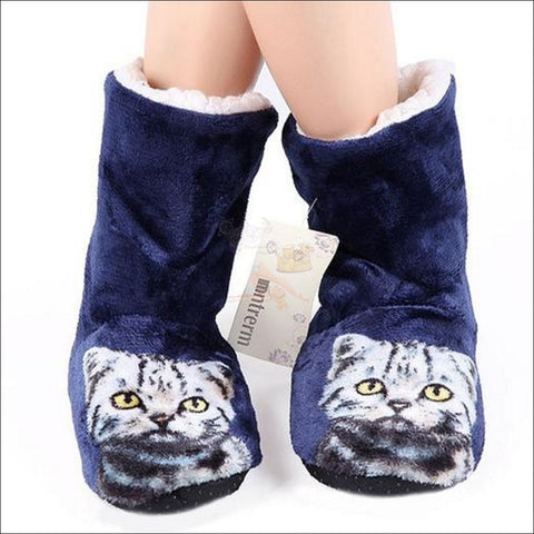 Fluffy Cat womens boots - Best Winter Boots Dark Blue by Blissfactory Pet Supplies