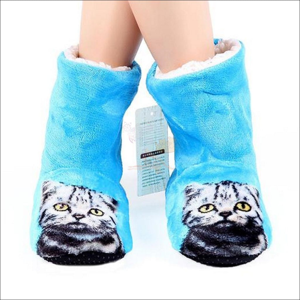 Fluffy Kitty Paw Slippers For Women (Free Shipping) Blue / 7 Cat Slipper