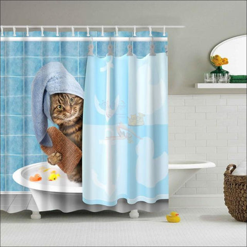Funny Cat Shower Curtains design by Blissfactory Pet Supplies