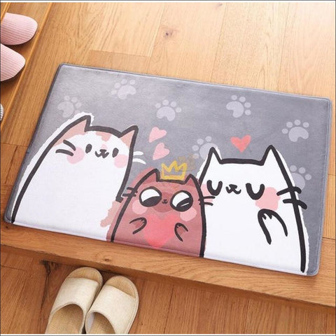 Cute Cat Anti-Slip & Anti-Dirt  Funny Doormats Love cats by Blissfactory Pet Supplies
