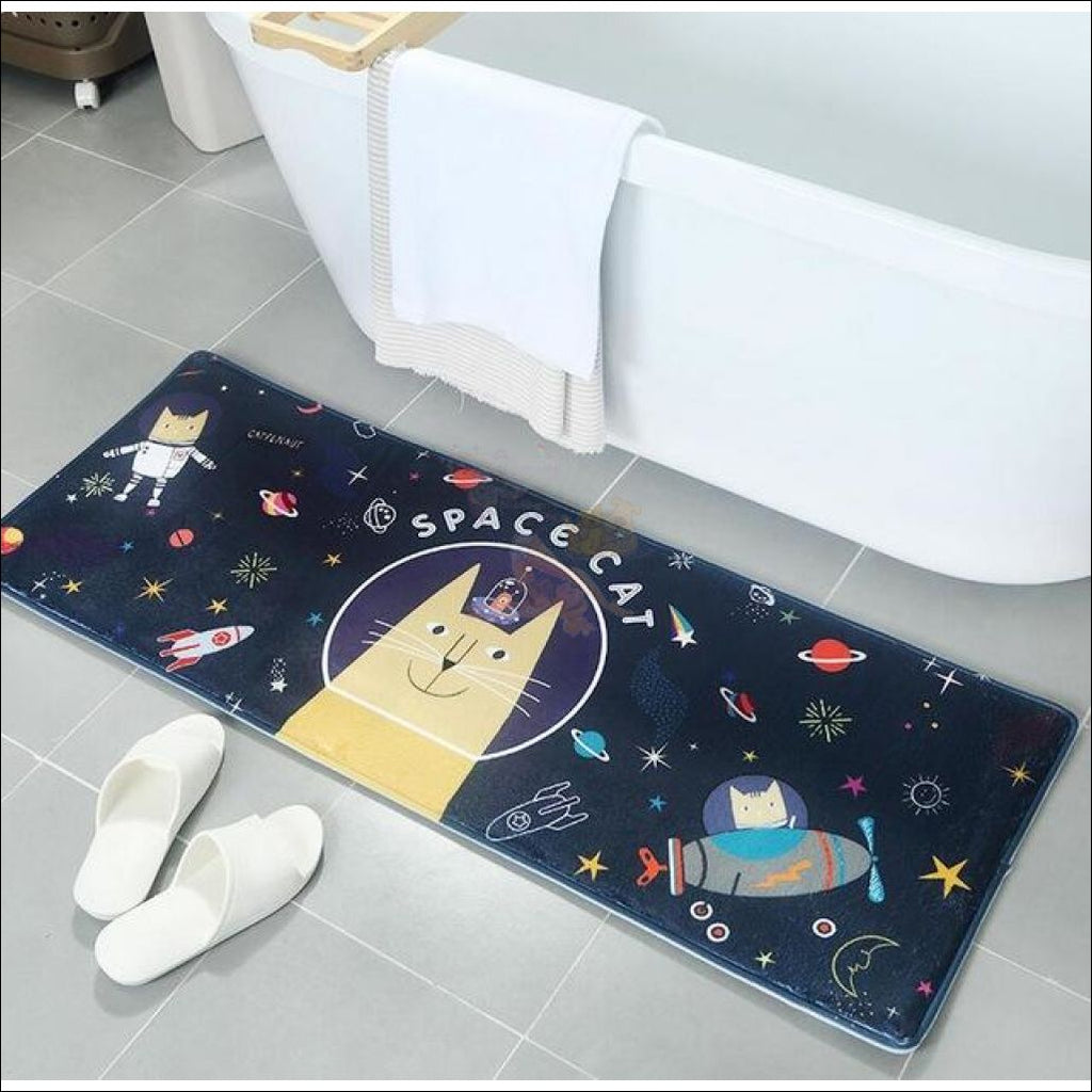 Funny Cute Anti-Slip & Anti-Dirt Doormats Space Cat / 60X90Cm