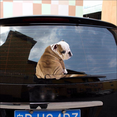 English Bulldog Moving Tail Car Sticker by Blissfactory Pet Supplies