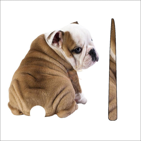 English Bulldog Moving Tail Car Sticker design by Blissfactory Pet Supplies