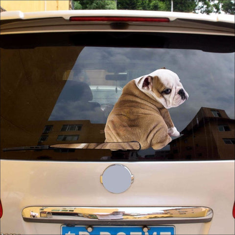 English Bulldog Moving Tail Car Sticker windshield by Blissfactory Pet Supplies