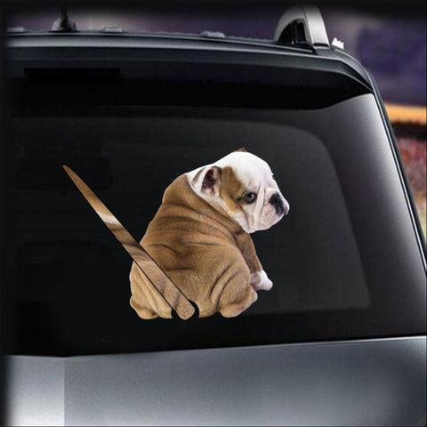 Funny English Bulldog Moving Tail Car Sticker For Window & Windshield Wiper (Free + Shipping)