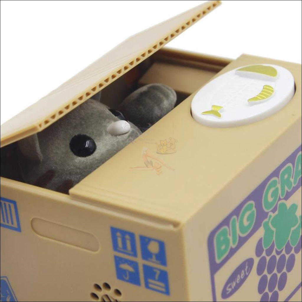 Money Stealing Kitten Coin Box Grey Cat by Blissfactory Pet Supplies