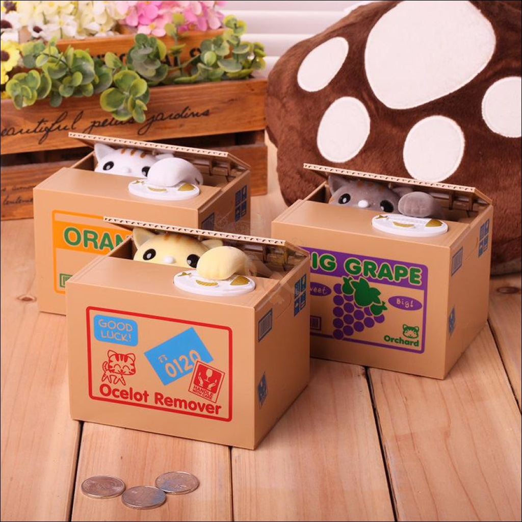 Money Stealing Kitten Coin Box Design by Blissfactory Pet Supplies