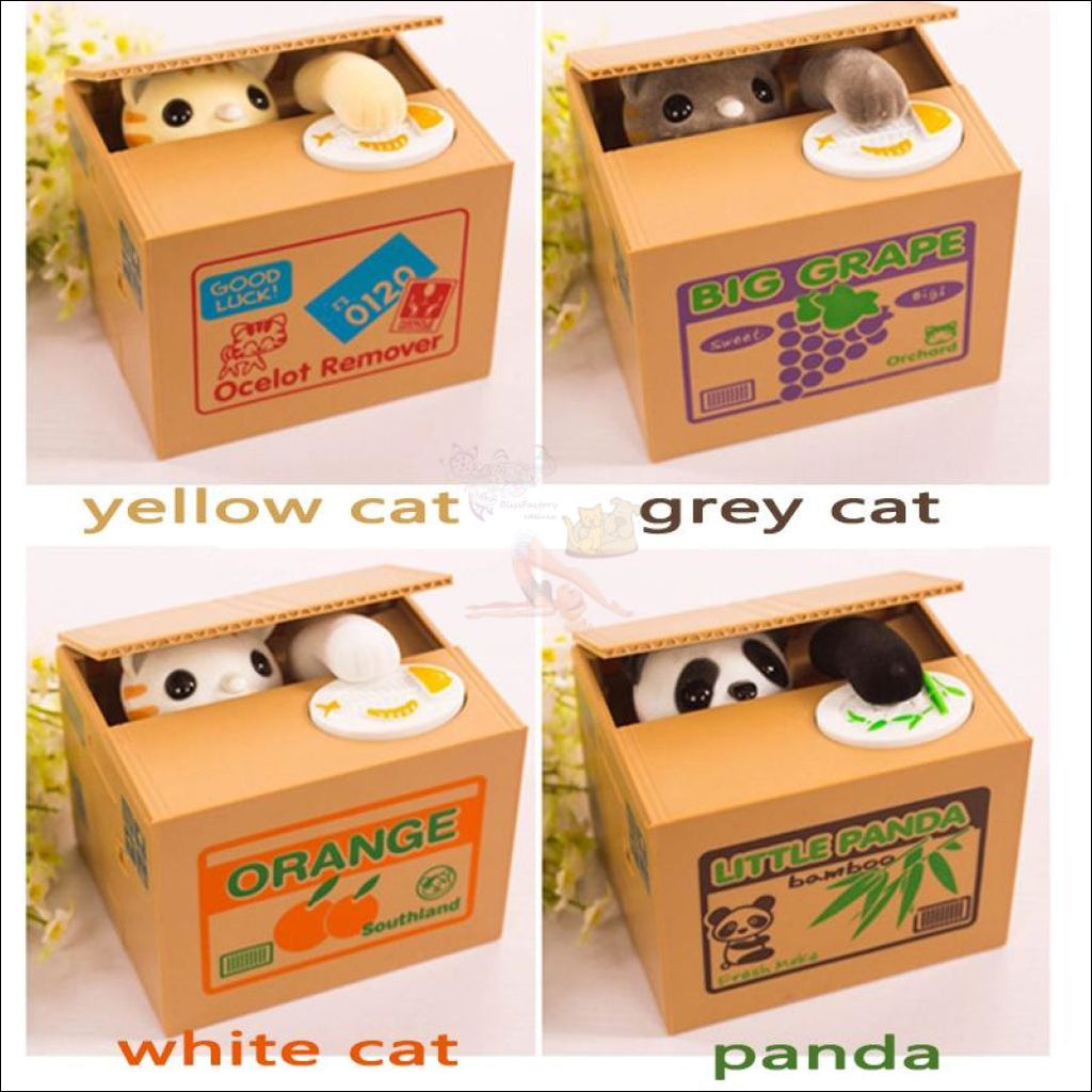 Money Stealing Cat Piggy Bank, Money Box 4 colors by Blissfactory Pet Supplies