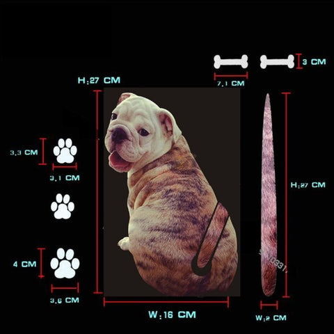 Moving Tail Bulldog Car Sticker - Window Stickers Measurement by Blissfactory Pet Supplies