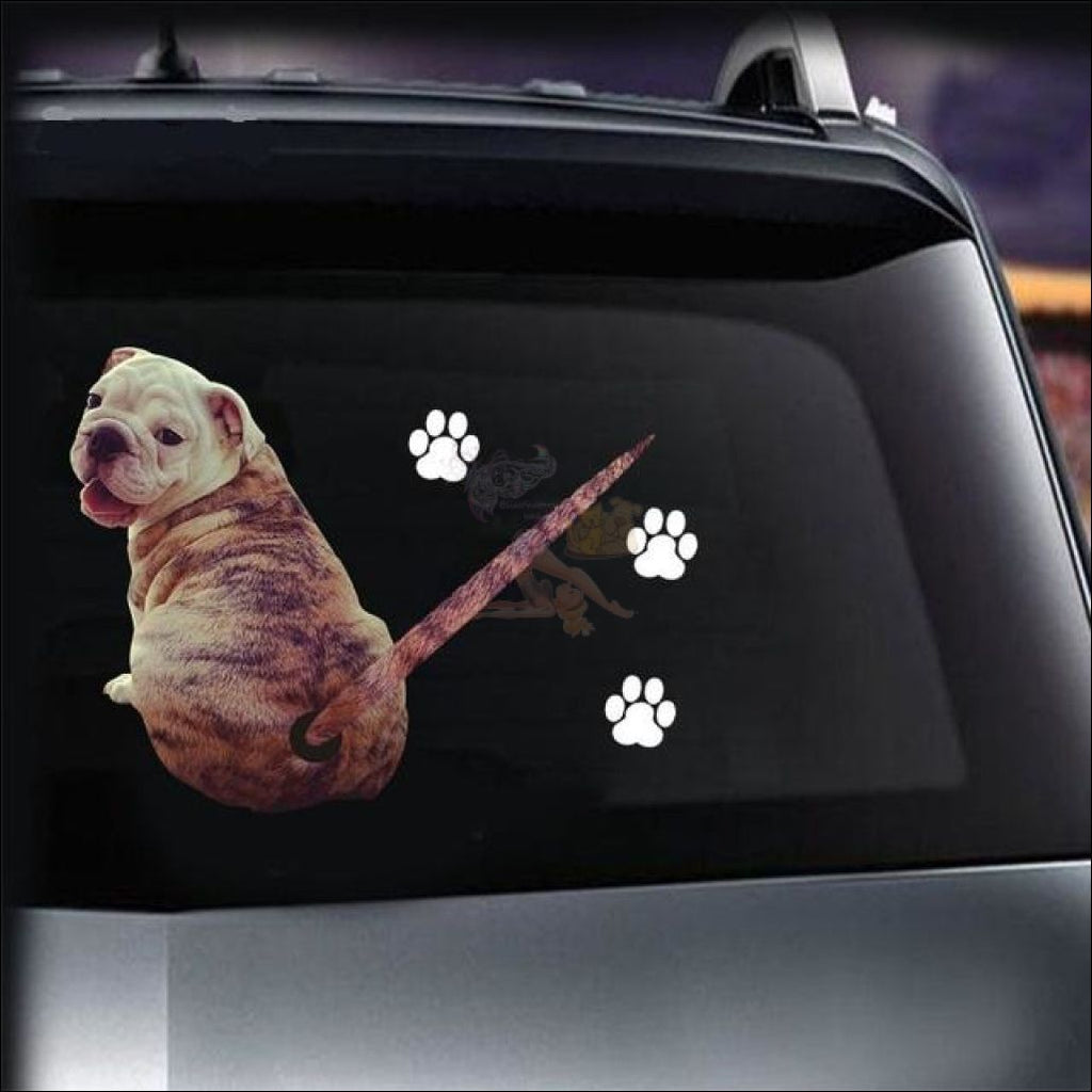 Moving Tail Bulldog Car Sticker - Window Stickers by Blissfactory Pet Supplies