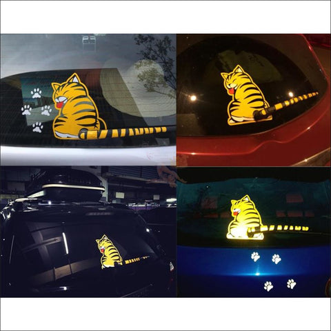Image of Funny Moving Tail Cat Car Sticker For Window & Windshield Wiper