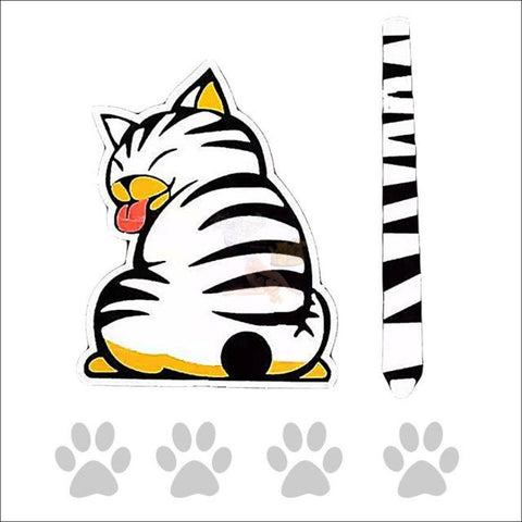 Funny Moving Tail Cat Car Sticker For Window & Windshield Wiper White