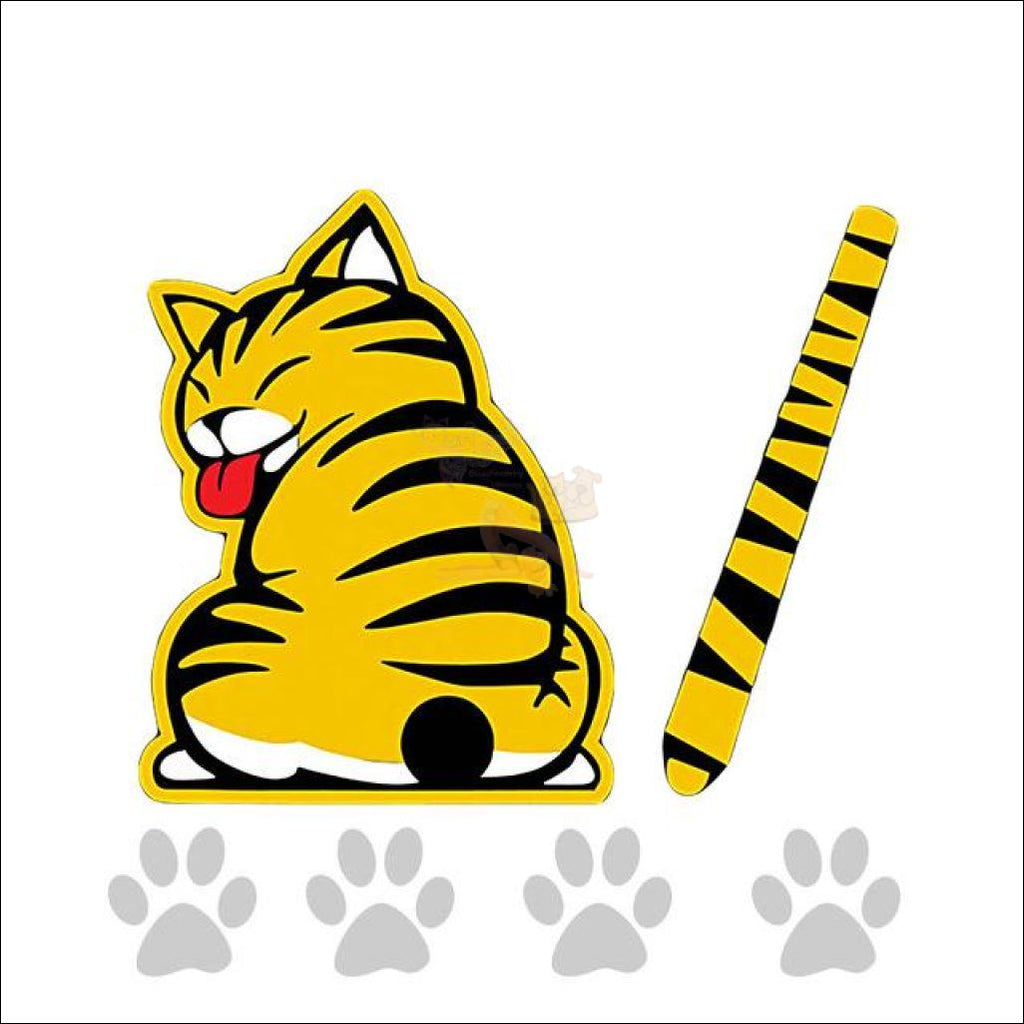 Funny Moving Tail Cat Car Sticker For Window & Windshield Wiper Yellow