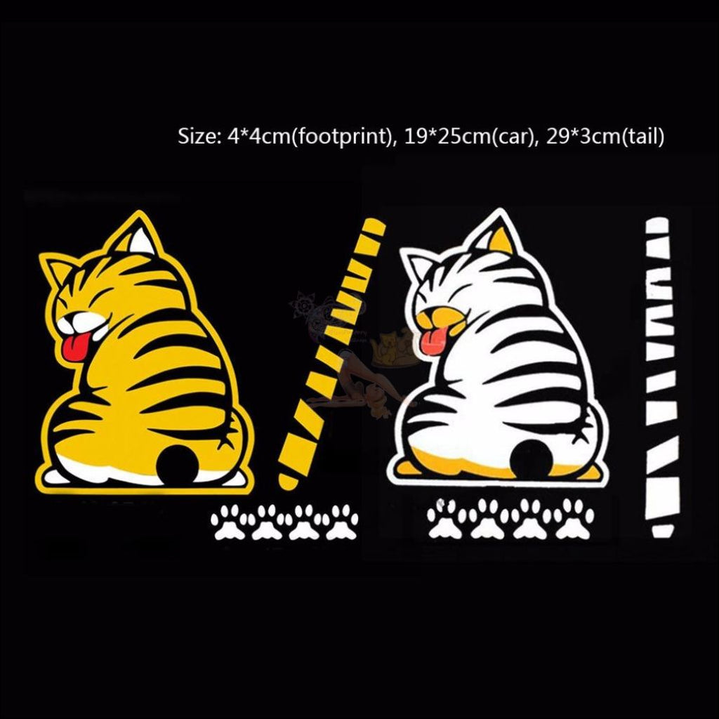 Moving Tail CAT CAR Sticker - Window Stickers by Blissfactory Pet Supplies