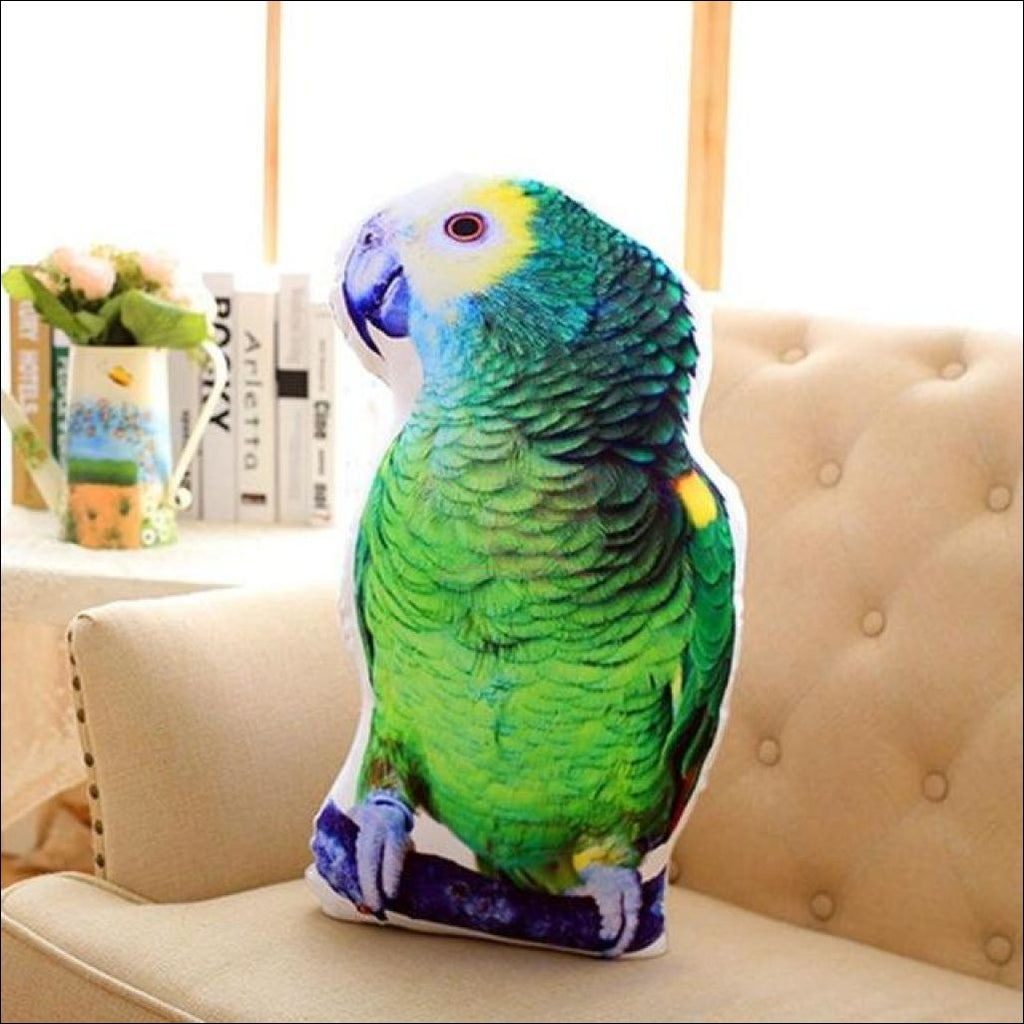 Funny & Realistic 3D Cat (Animal) Sofa Cushion Parrot Green