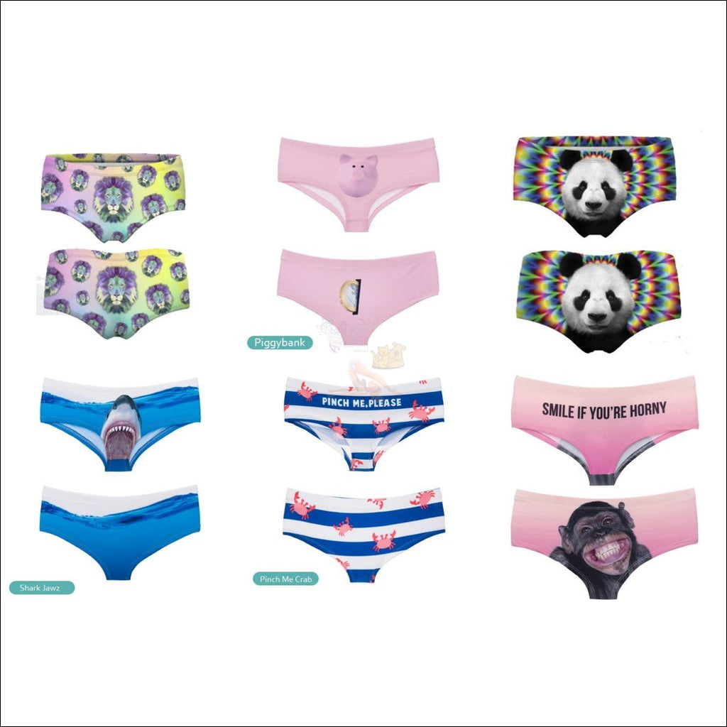 Funny & Sexy Animal Design Panties For Women (One Size Free Shipping) Wild Set Of 6 / One