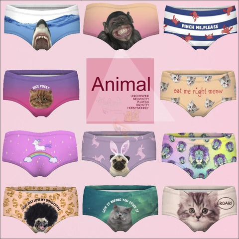 Sexy Animal Design Funny Women's Underwear Different Size by Blissfactory Pet Supplies