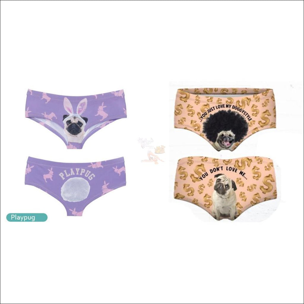 Funny & Sexy Animal Design Panties For Women (One Size Free Shipping) Dog Set Of 2 / One