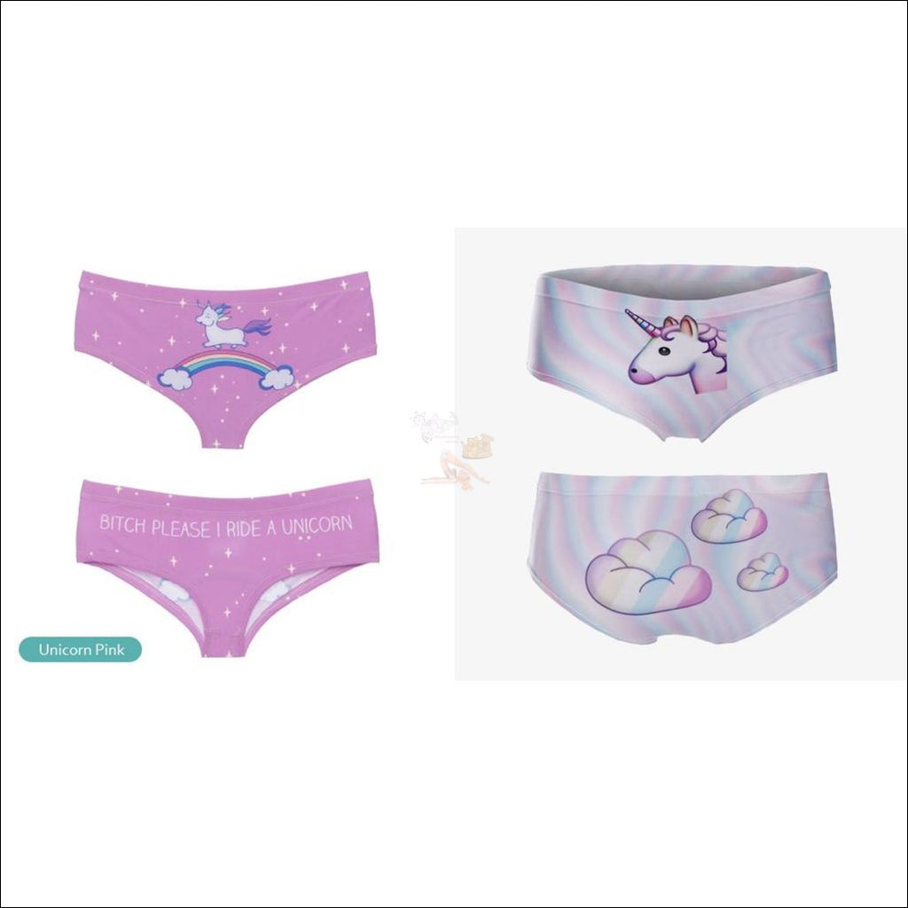 Funny & Sexy Animal Design Panties For Women (One Size Free Shipping) Unicorn Set Of 2 / One