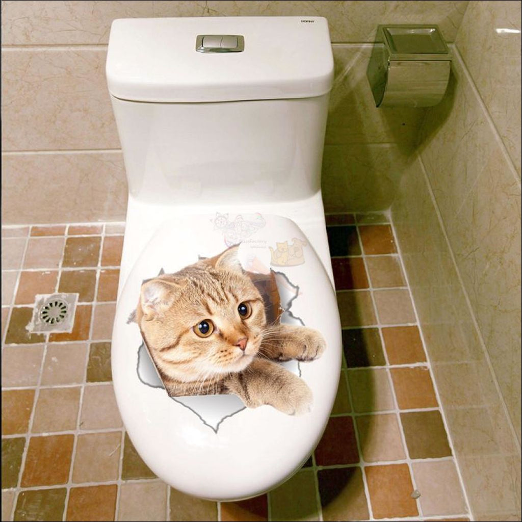 Funny Vinyl Cat Stickers (For Toilet Or Any Other Surface) - Free Shipping! Cat2 Sticker