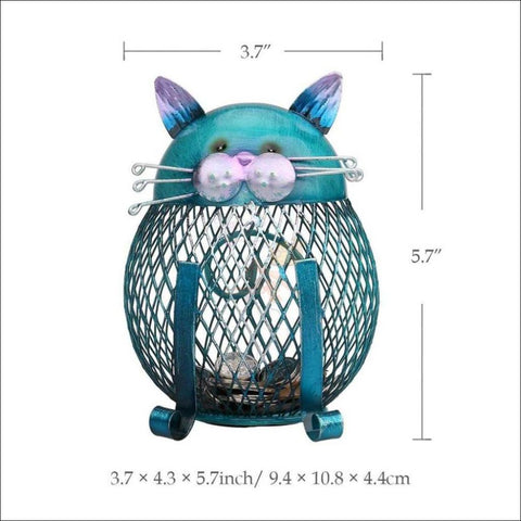 Blue Iron Kitty Coin Bank- best way to save money Blue Cat by Blissfactory Pet Supplies
