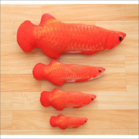 Happy Cat Fish Toy Or Sofa Pillow (3 Sizes) Red Scleropages / S