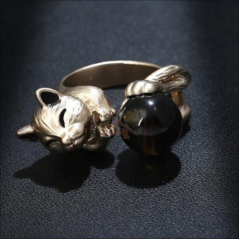 Image of Happy Playing Kitten Cubic Zirconia Titanium Ring (Free Shipping)