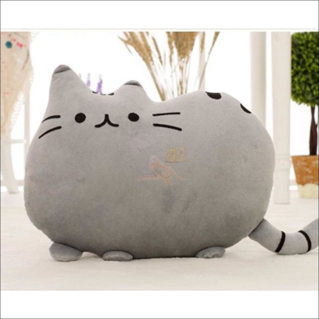 Home Deco Cute Plush Cat Cushions Gray Pillow