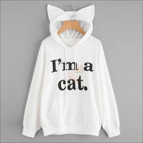 Cat Ear Hoodies For Girls - Best Sweatshirts For Women White by Blissfactory Pet Supplies