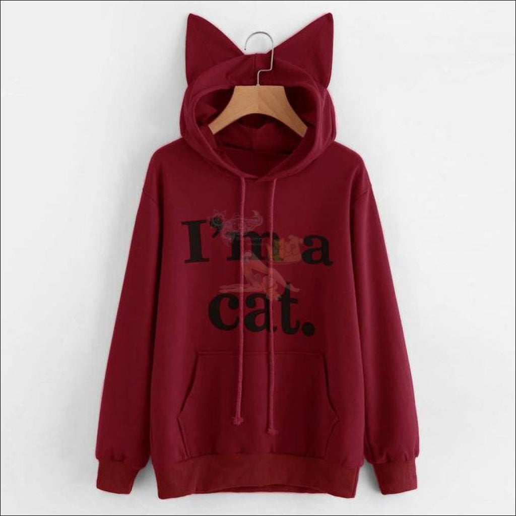 Cat Ear Hoodies For Girls - Best Sweatshirts For Women Burgundy by Blissfactory Pet Supplies