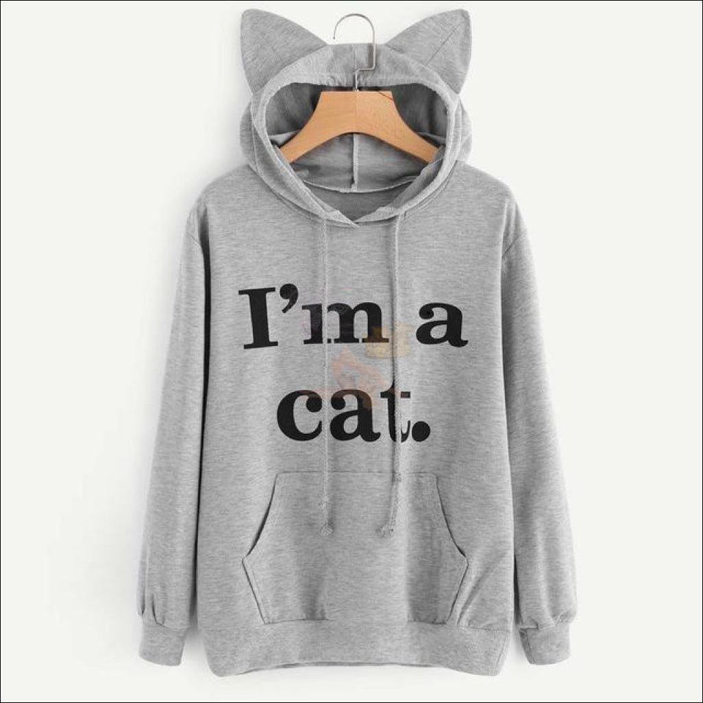 Cat Ear Hoodies For Girls - Best Sweatshirts For Women Gray by Blissfactory Pet Supplies