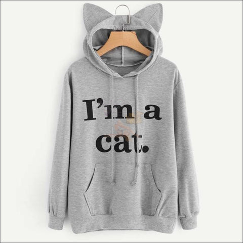 Image of Cat Ear Hoodies For Girls - Best Sweatshirts For Women Gray by Blissfactory Pet Supplies