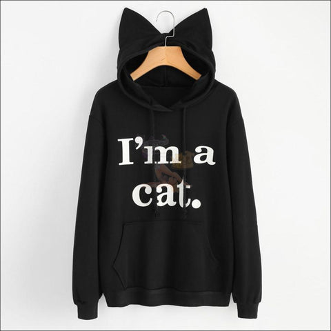 Image of Cat Ear Hoodies For Girls - Best Sweatshirts For Women Black by Blissfactory Pet Supplies