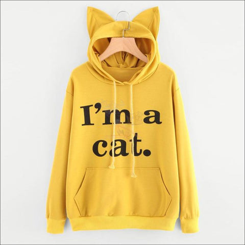 Cat Ear Hoodies For Girls - Best Sweatshirts For Women Yellow by Blissfactory Pet Supplies