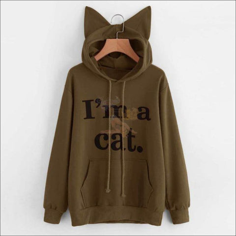 Image of Cat Ear Hoodies For Girls - Best Sweatshirts For Women Khaki by Blissfactory Pet Supplies